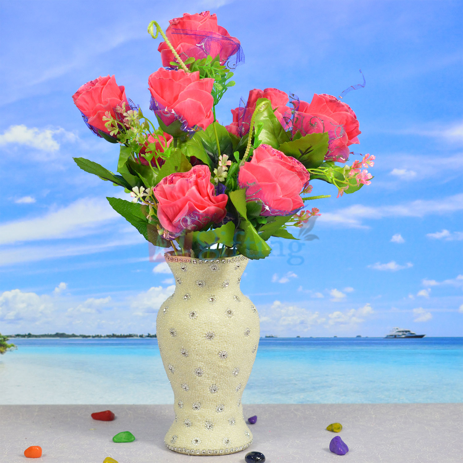 Amazing Roses Flower Bouquet with Pot