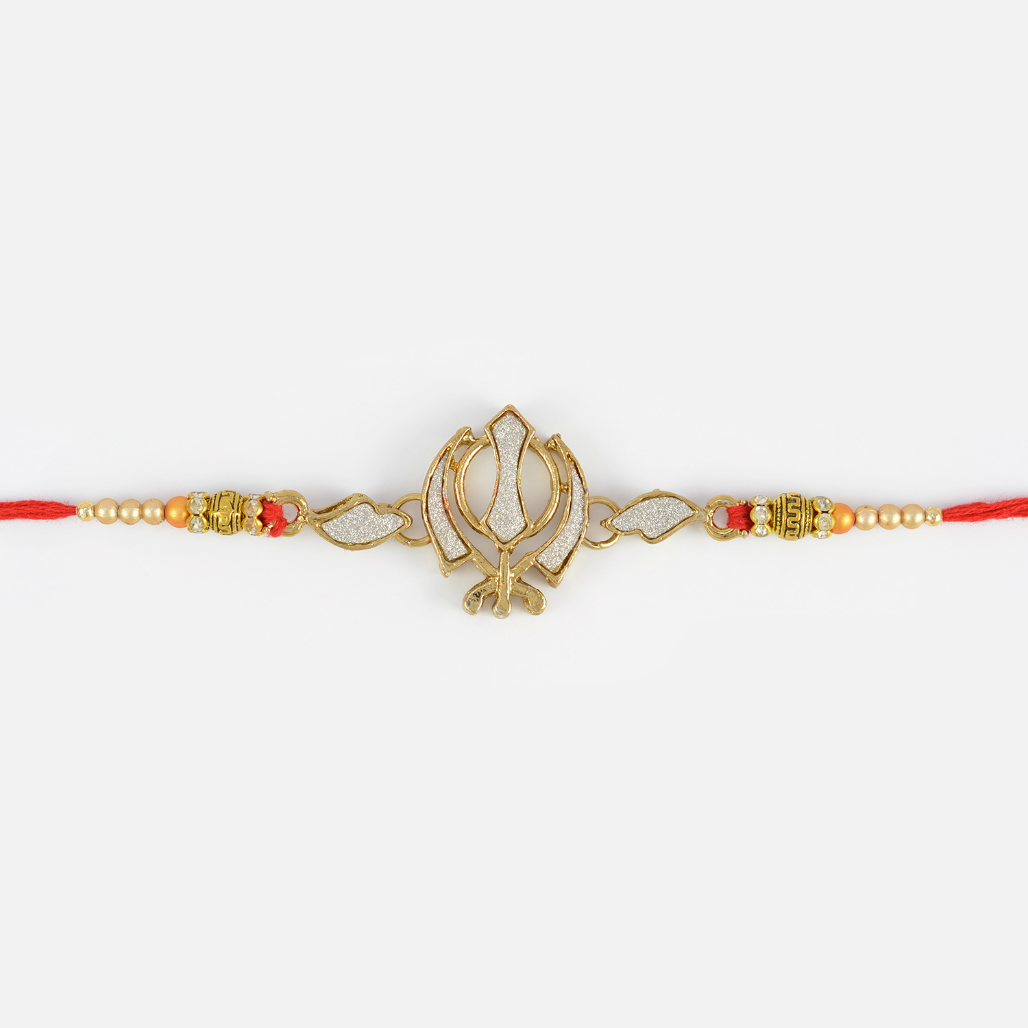 Silver Sikh Rakhi with Golden and Silver Pearls