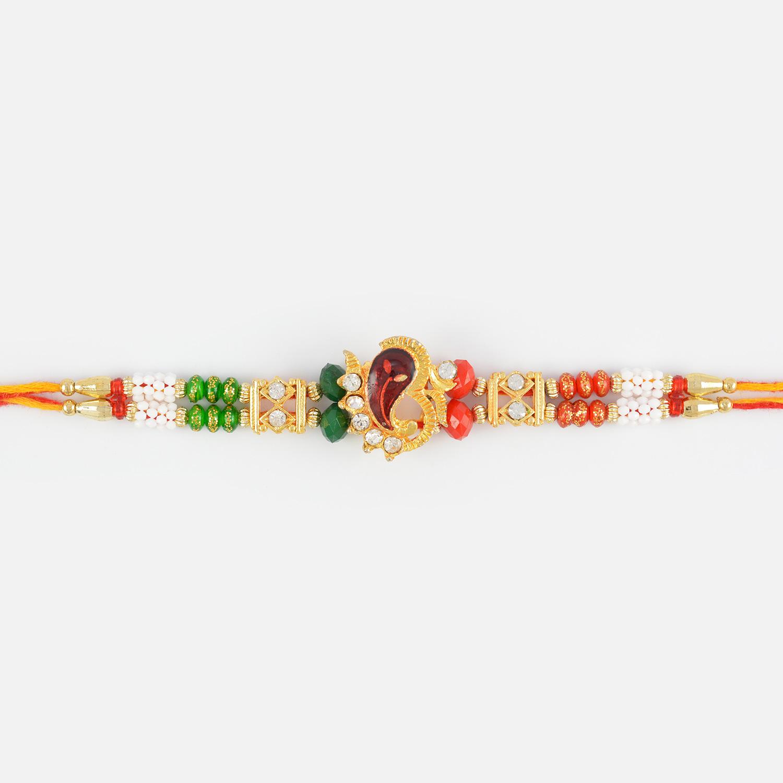 Divine OM Ganesha Rakhi with Multicolored Beads