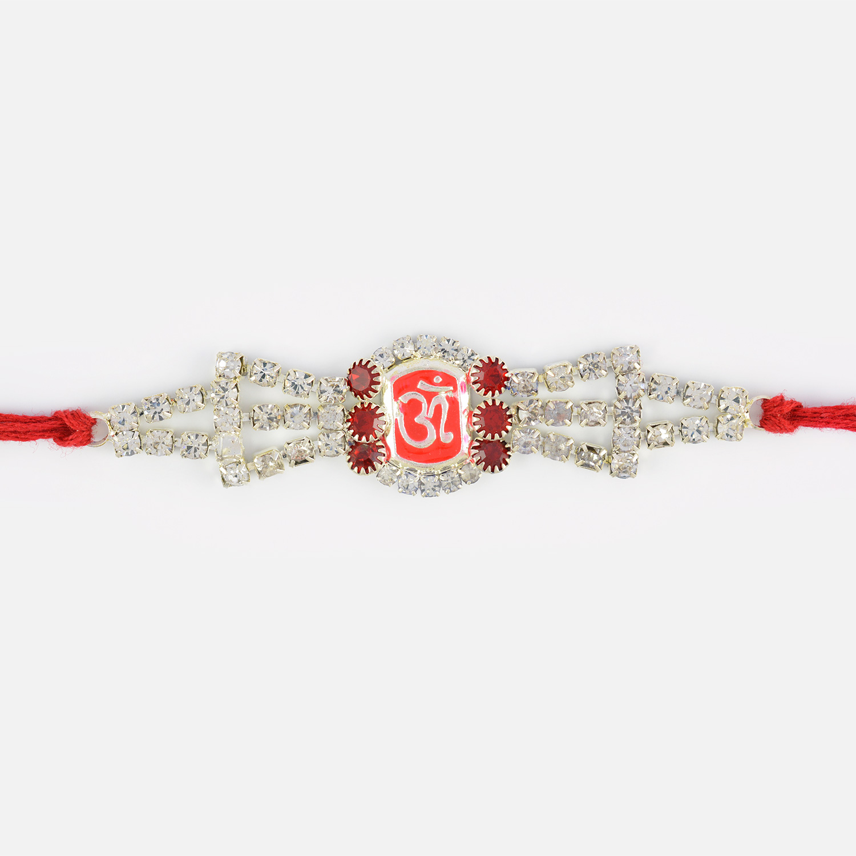Sindoori OM Diamonds Thread Rakhi