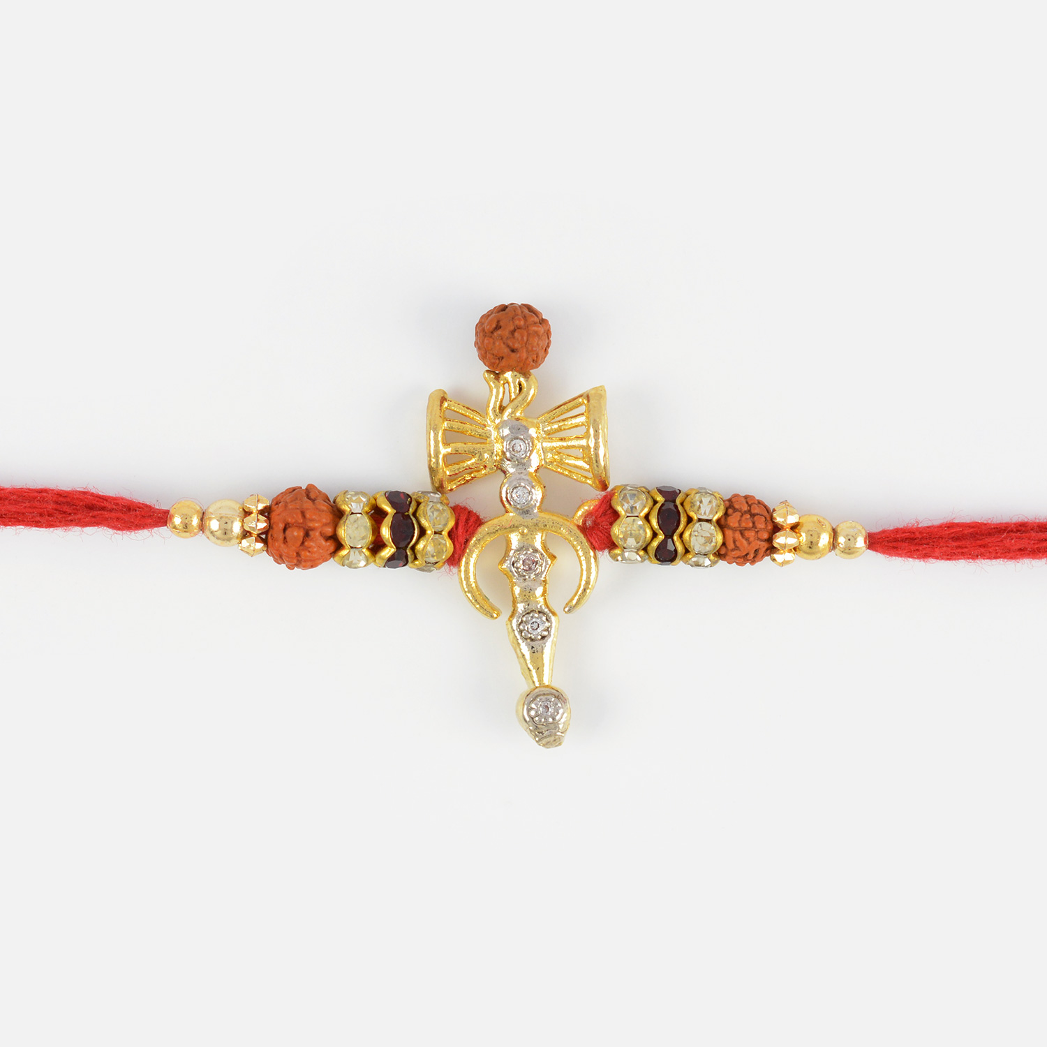 Auspicious Sikh Rakhi with Rudraksh and Diamonds