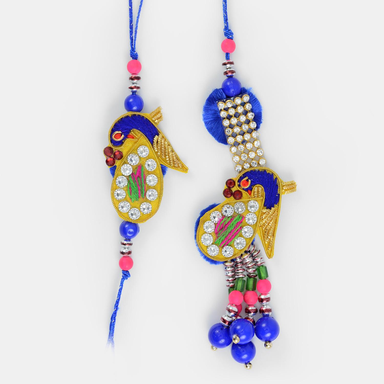 Jewel Peacock Zari Worked Pair Rakhi