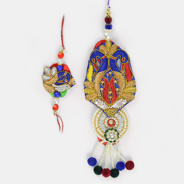 Zardozi Pearl Diamond Work Timeless Sample of BB Rakhi Set