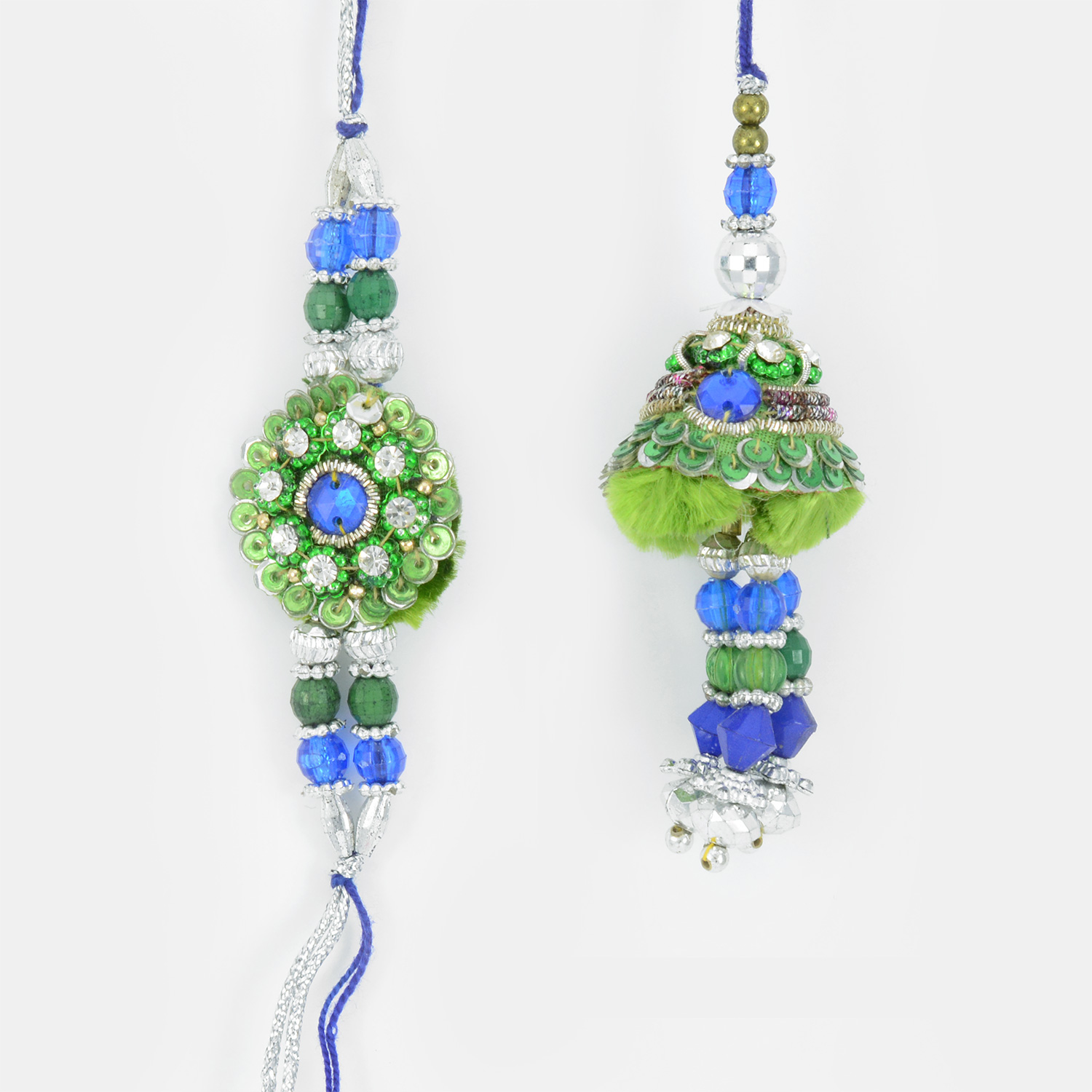 Jewels and Colorful Zardozi work Beautiful Rakhi Set