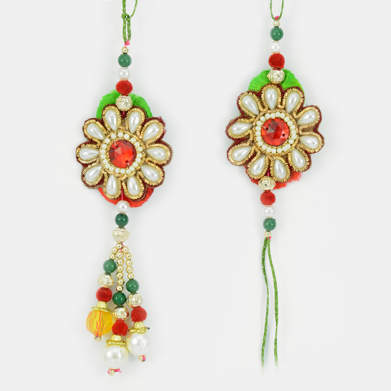 Pearl Flower Kundan Bhaiya-Bhabhi Rakhi in Red Green