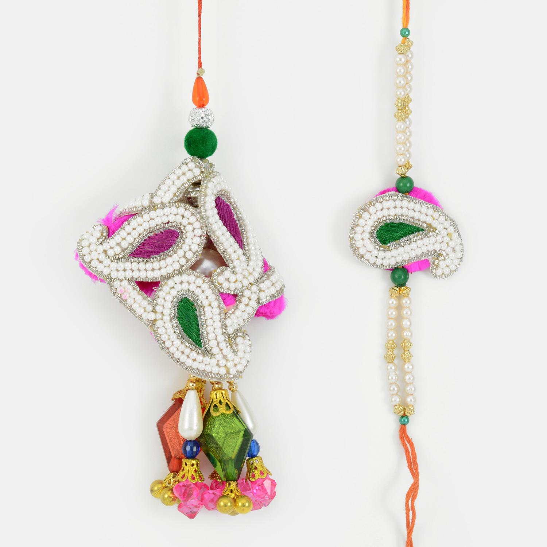 Outstanding Big Crystal Mango Pearl Rakhi for Bhaiya Bhabhi