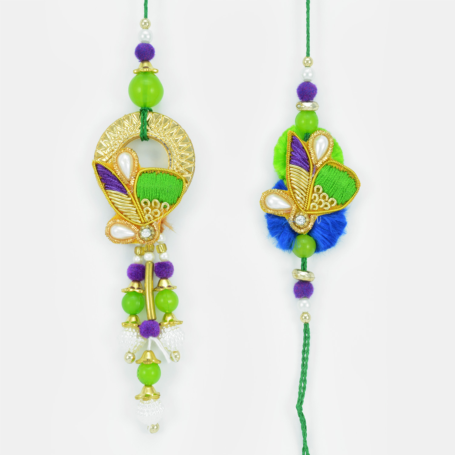 Zari Resham Work Dangler Beads Designer Pair Rakhi Set