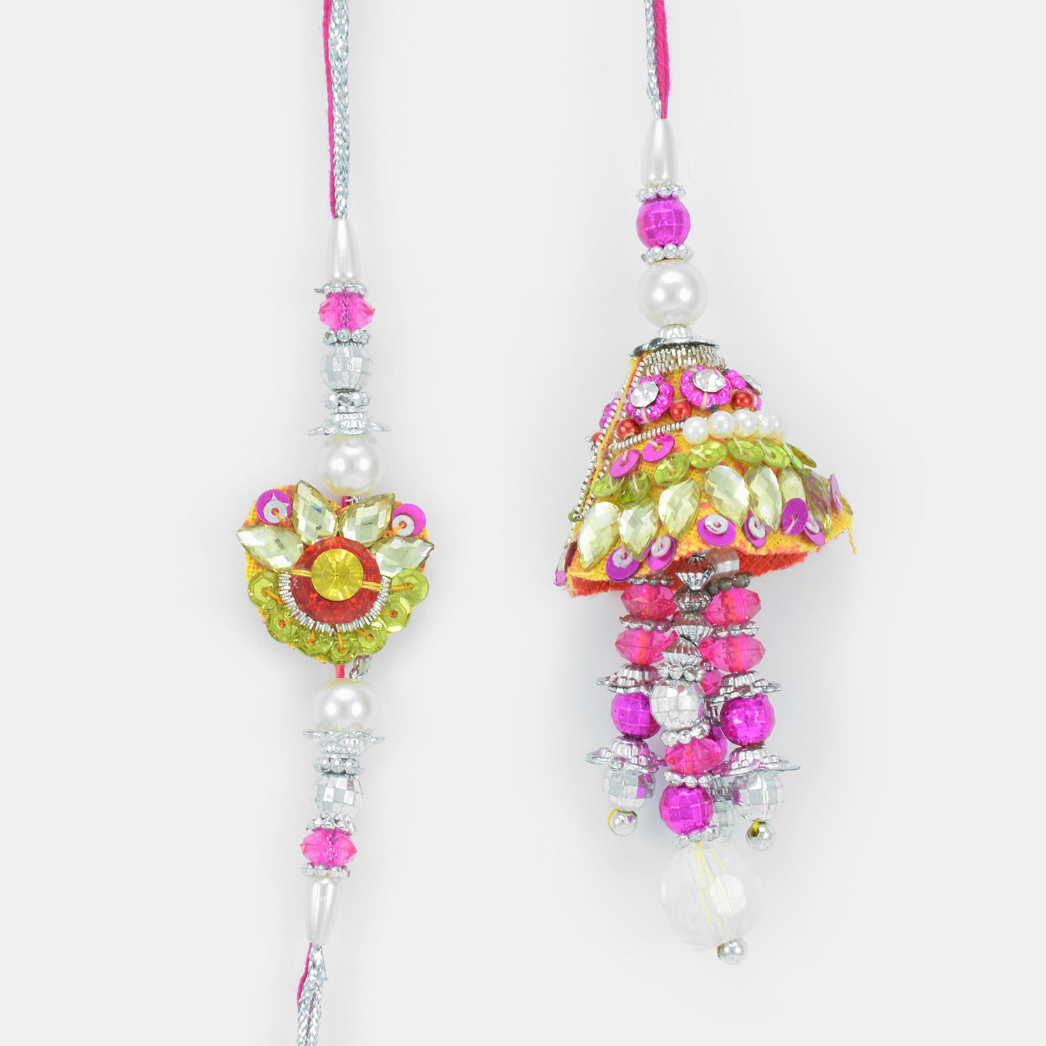 Fabulous Multi-color Beauty of Stones and Pearls Rakhi Set