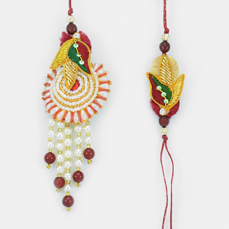 Marvelous Pearl Zardosi Rakhis for Bhaiya Bhabhi