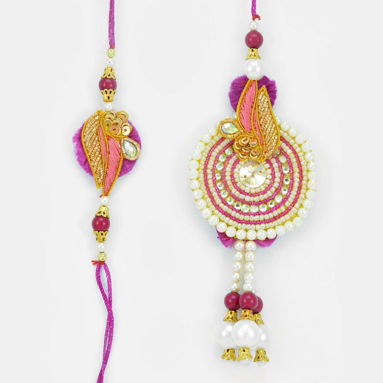 Pink White Pearl Zardosi Beautiful Bhaiya Bhabhi Rakhi
