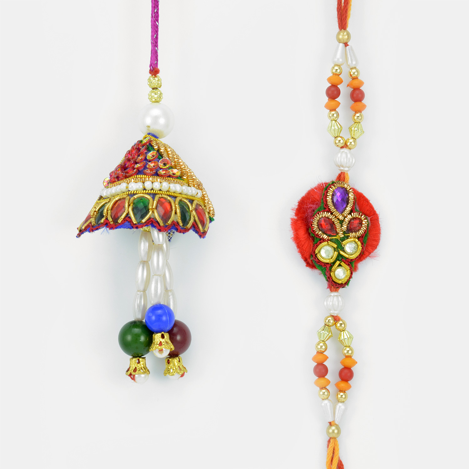 Handmade Zardosi Crystal Drop Lumba and Rakhi Pair