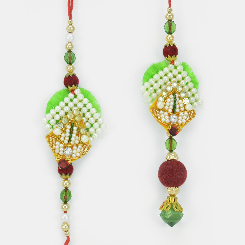 Designer Pearl Small Floral Pair Rakhi for Bhaiya Bhabhi