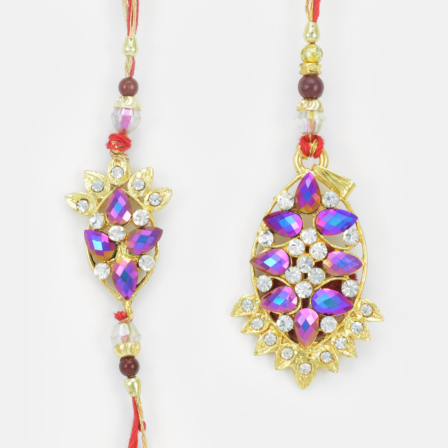 Attractive Cut Shaped Colorful Gems Rakhi Set for Bhaiya and Bhabhi
