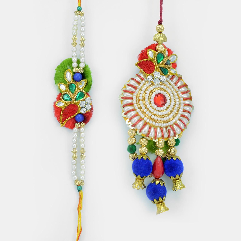Pearl Kundan Studded King- Queen Bhaiya Bhabhi Rakhi