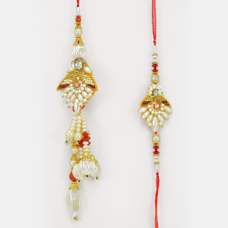 Designer Pearl Drop Zardosi Pair Rakhi for Bhaiya Bhabhi