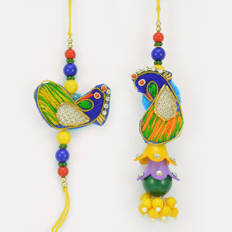 Beads Zari Worked Pair Rakhi for Bhaiya Bhabhi