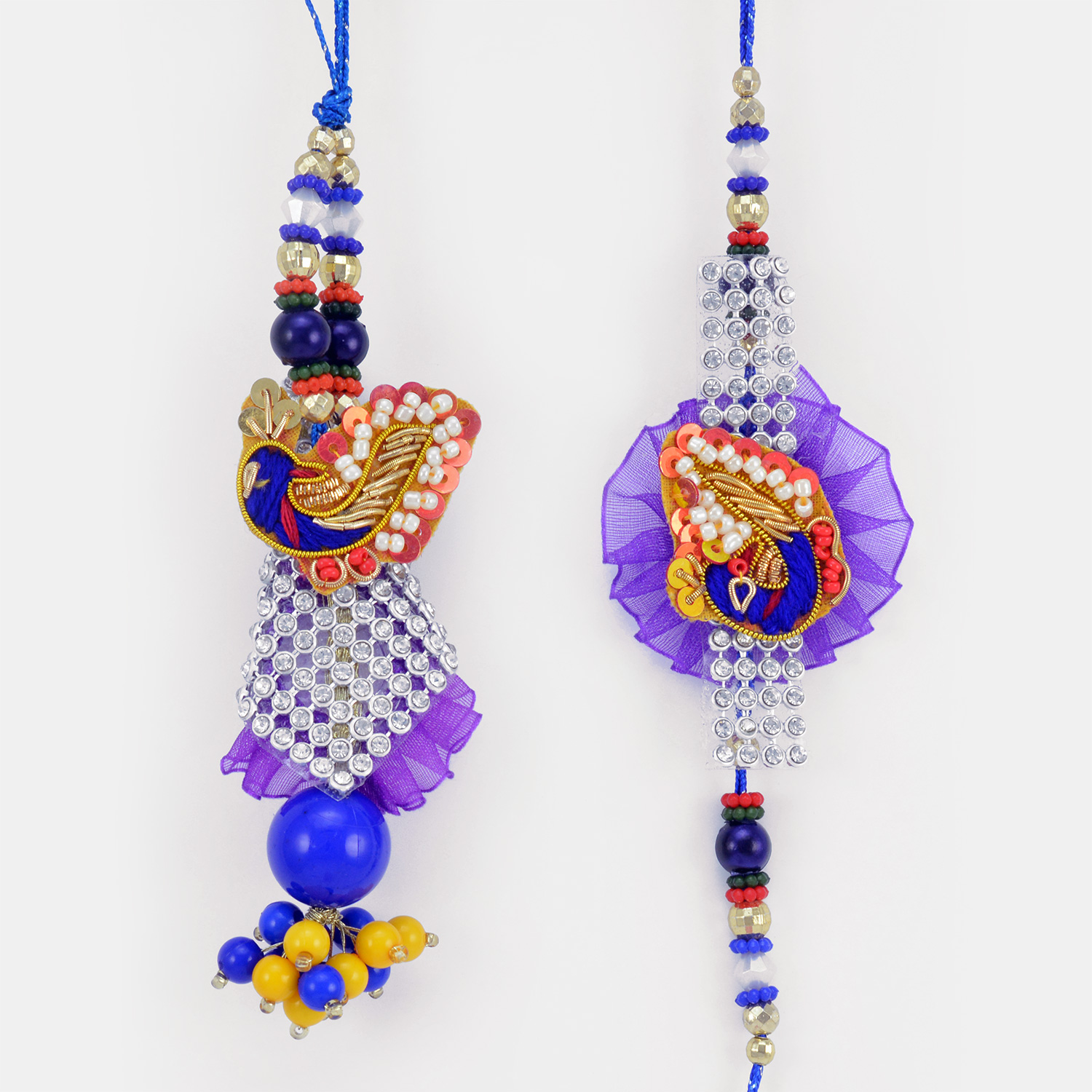 Beautiful Mat Based Peacock Set of Rakhi