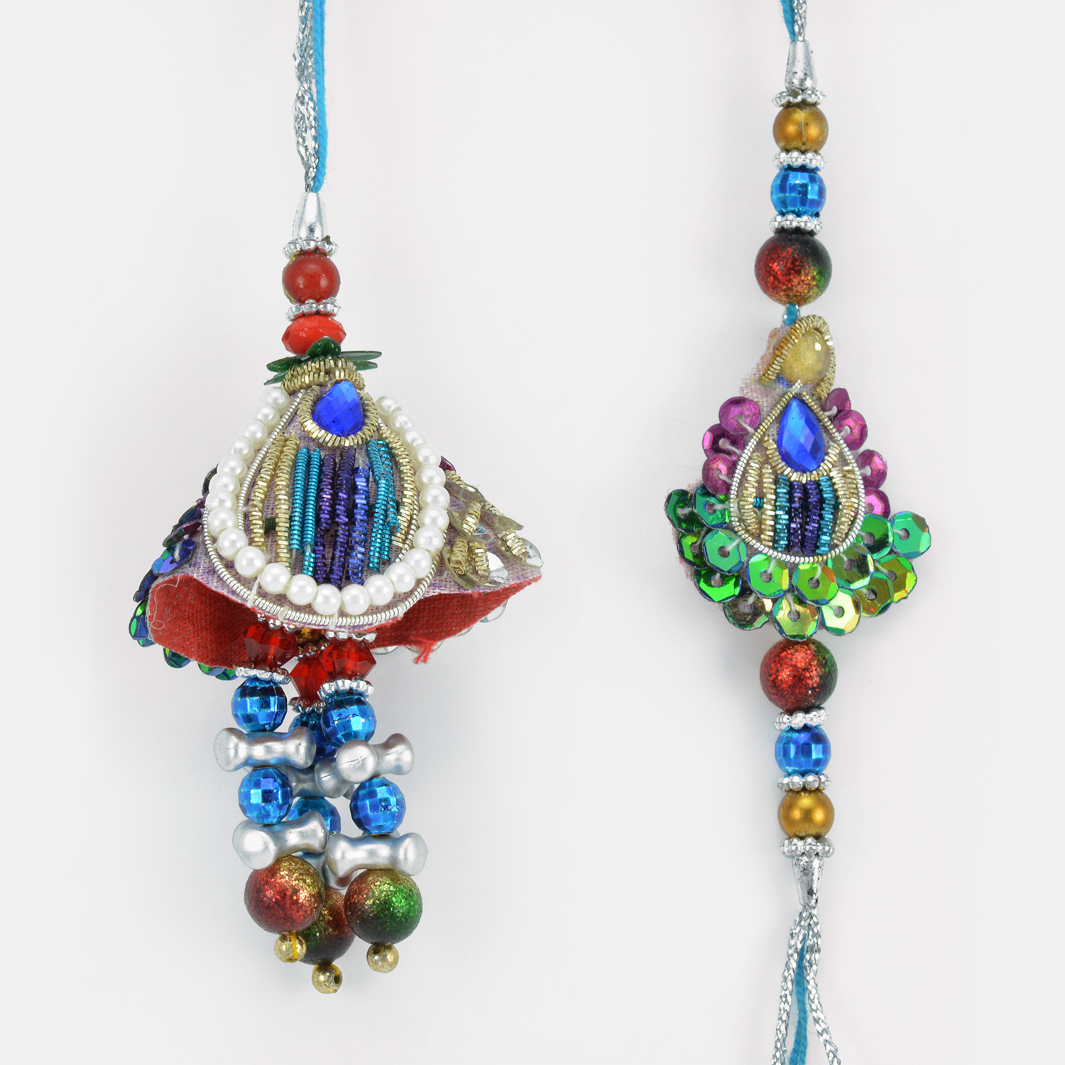 Multi Shaped Colorful Danglers and Pearl Zari Work Rakhi Set