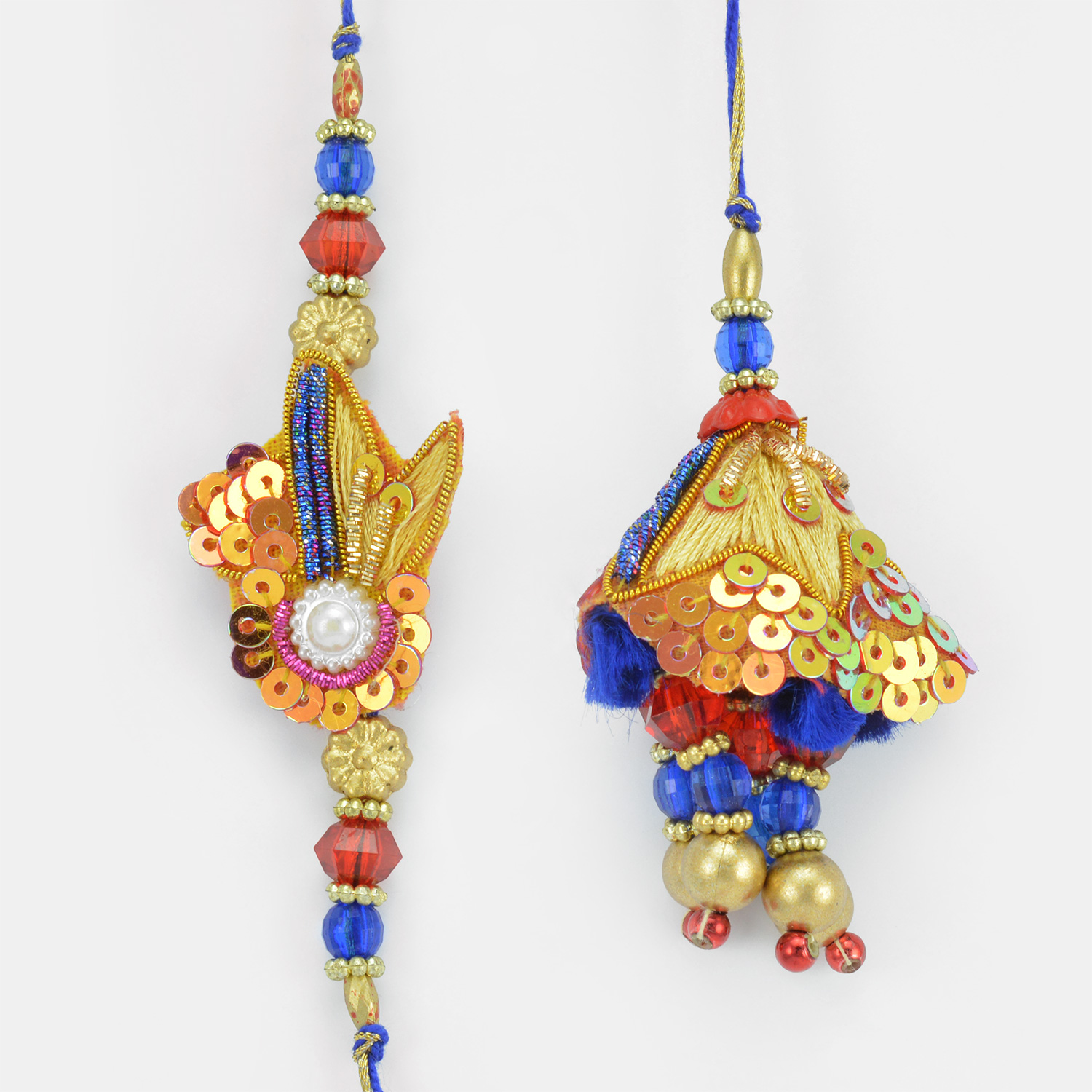 Multi-Color Jewels Zari Beaded Rakhi for Bhaiya and Bhabhi
