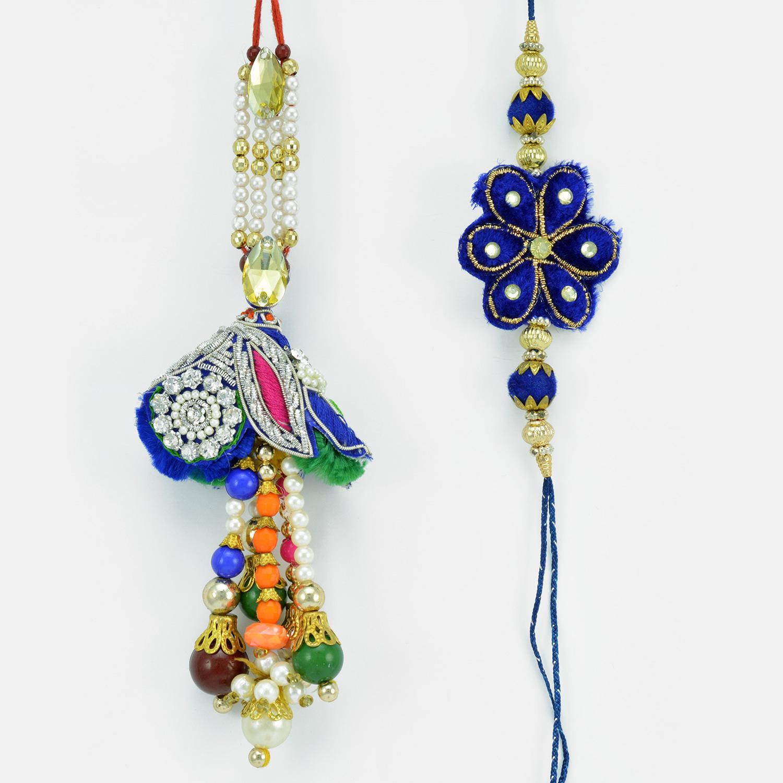 Exclusive Blue Theme Zardosi Diamond Rakhis for Bhaiya Bhabhi