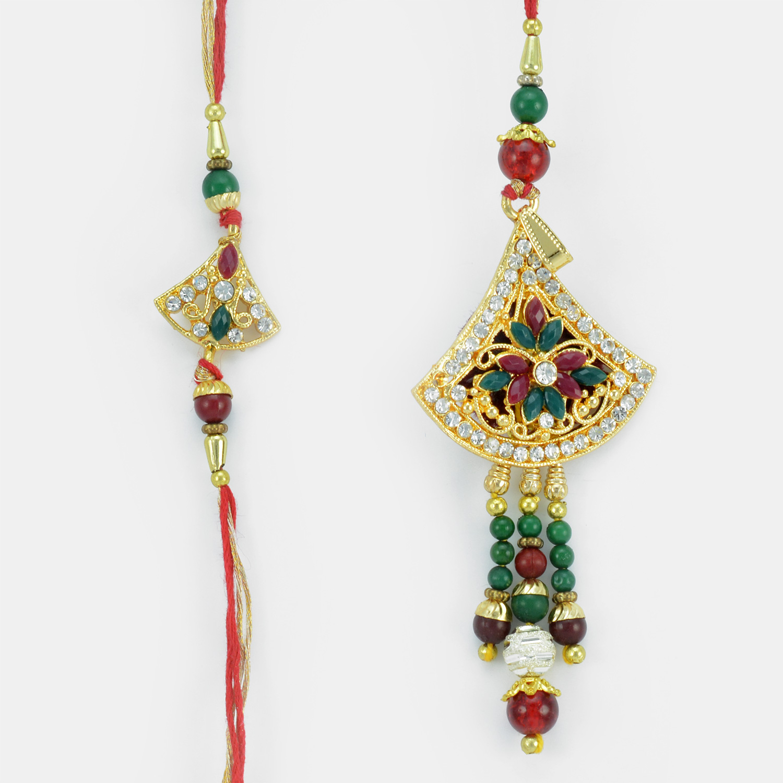 Triangle Shape Golden Base Jewels Rakhi Set with Colorful Gems