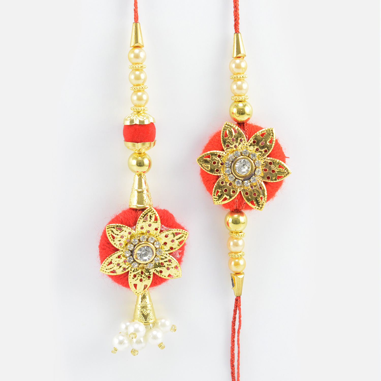 Golden Star on Red Base Design Beaded Amazing Bhaiya Bhabhi Rakhi Pairs