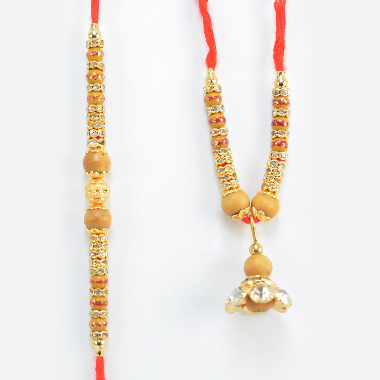 Simple Looking Jewel Studded Sandalwood Type Multi Liner Lumba Rakhi with Brother Rakhi