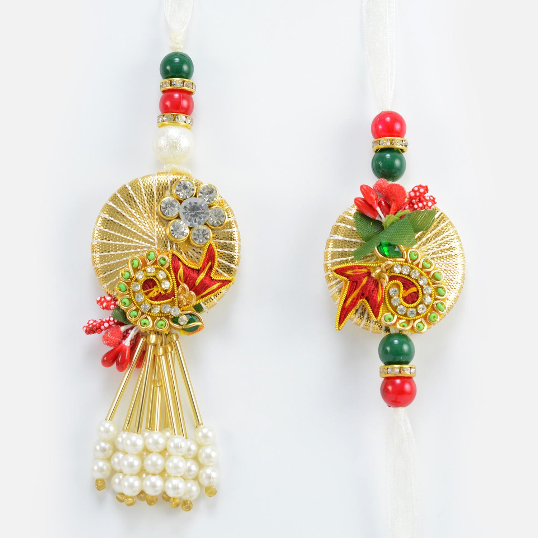 Amazing Looking Handcrafted Flower Design Pair of Pearl Rakhis for Bhaiya and Bhabhi