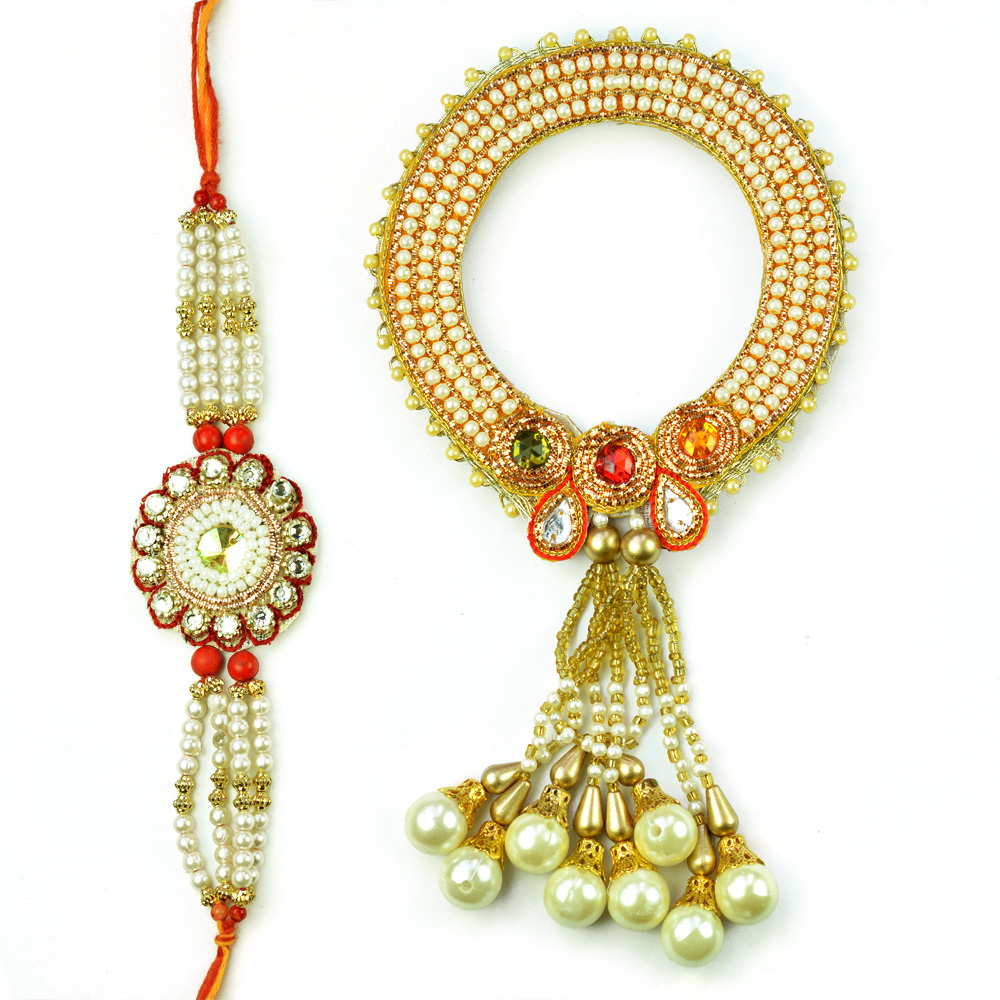 Superb Pearl Kangan Rakhi for Bhabhi with Diamond Rakhi for Bhaiya