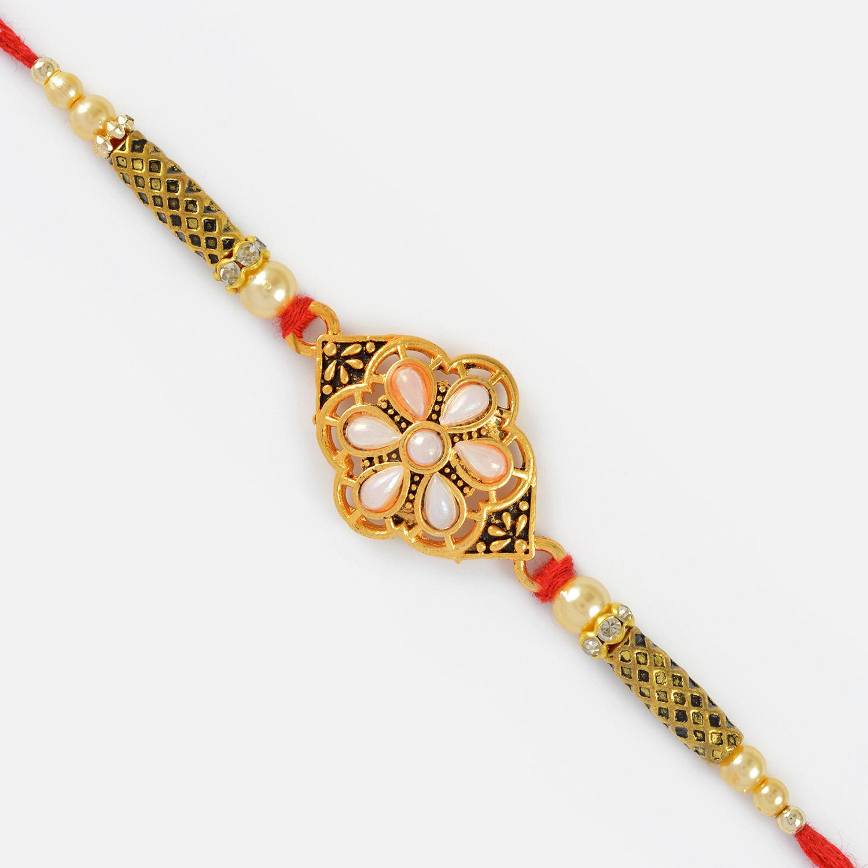 Golden Rakhi with White and Golden Beads