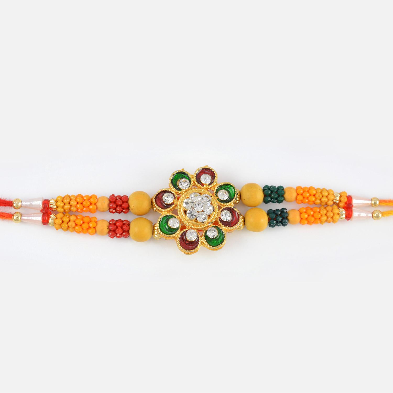 Floral Shape Studded Diamond Sandalwood Rakhi