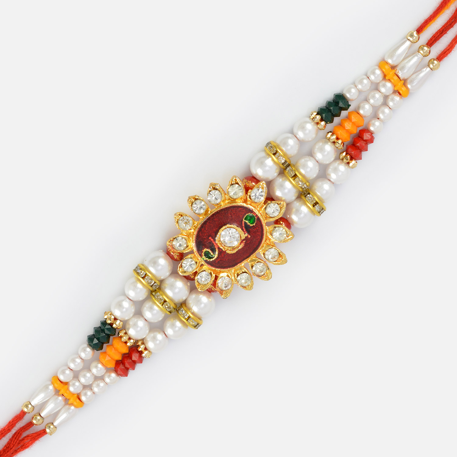 Central Red Base Diamond Rakhi with Pearl