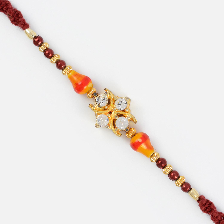 Four Diamond Rakhi with Designer Beads