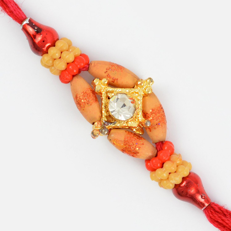 Wooden Look Beads with Diamond Rakhi