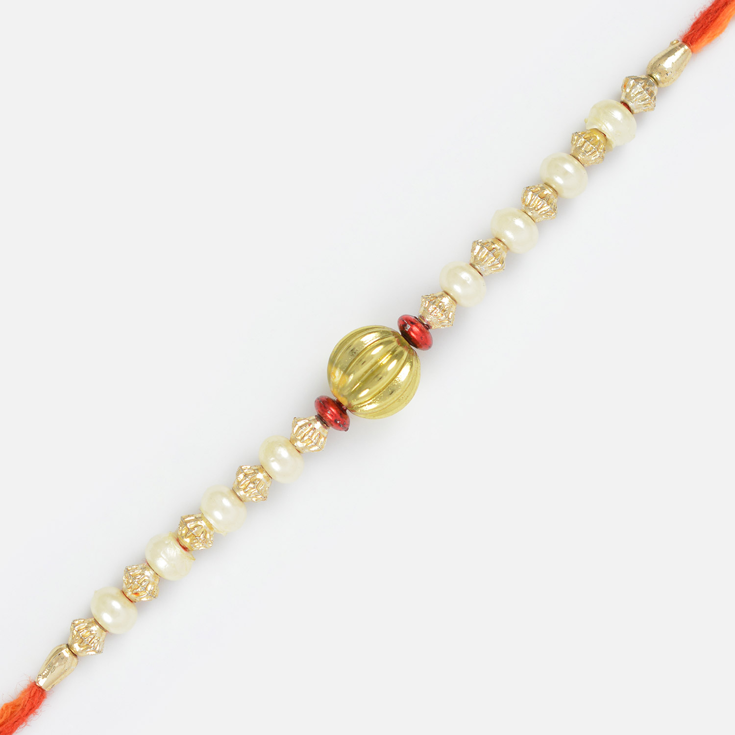 Central Beads Special Rakhi for Brother with White Pearl