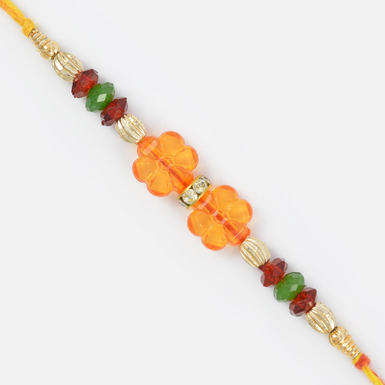 Transparent Floral Design Glass and Golden Beads Moli Rakhi