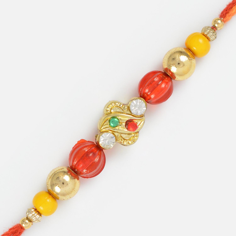 Awesome Designer Work of Beads in Moli Dori- Beads Rakhi