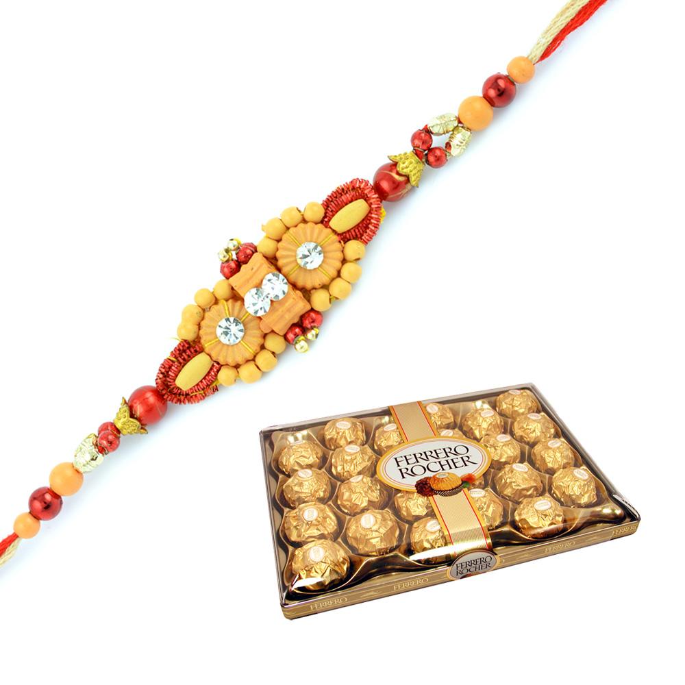 Delicious 24 Pcs Ferrero Rocher and Fancy Beads Rakhi Set