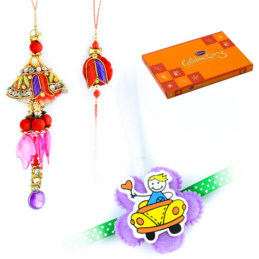 Rakhi Wishes With Cadbury Celebrations Chocolate With 1 Bhaiya Bhabhi and 1 Kids Rakhi