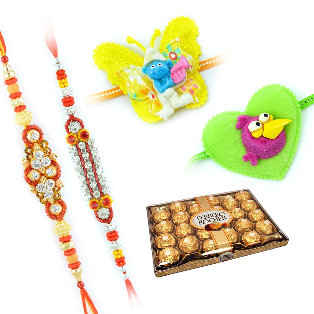 Rakhi Wishes With Ferrero Rocher 24 Pcs With 2 Kids Rakhi and 2 Jewels Rakhi
