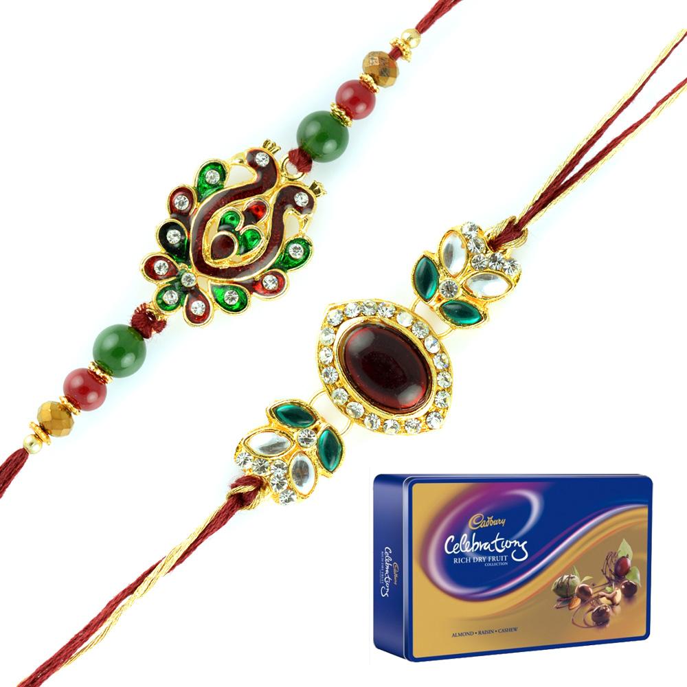 Cadbury Celebration Rich Dry Fruits Tin with 2 Kundan Meena Diamond Rakhis