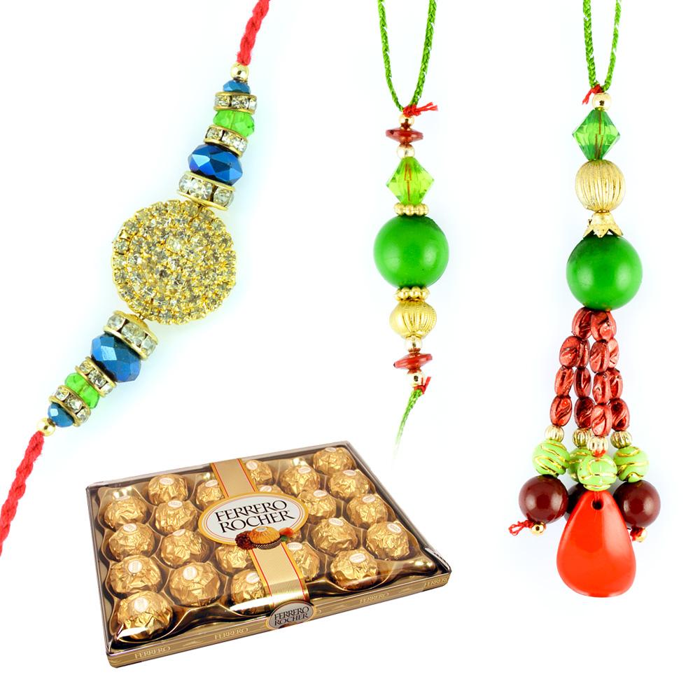 Bhaiya Bhabhi Beads Rakhi n Superb Golden Diamond Rakhi with Ferrero Rocher 24 Pcs
