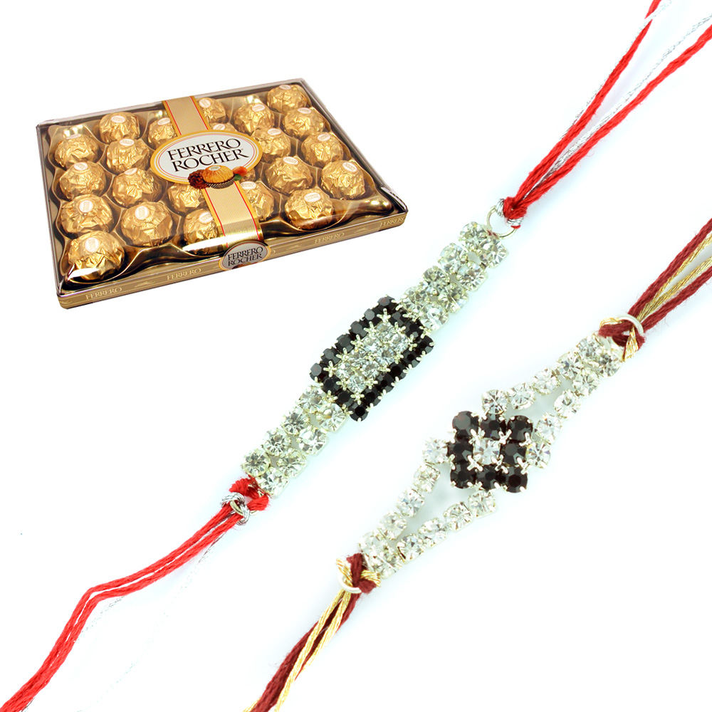 Black n White Diamond Silver 2 Rakhis n 24 Pcs Ferrero Rocher