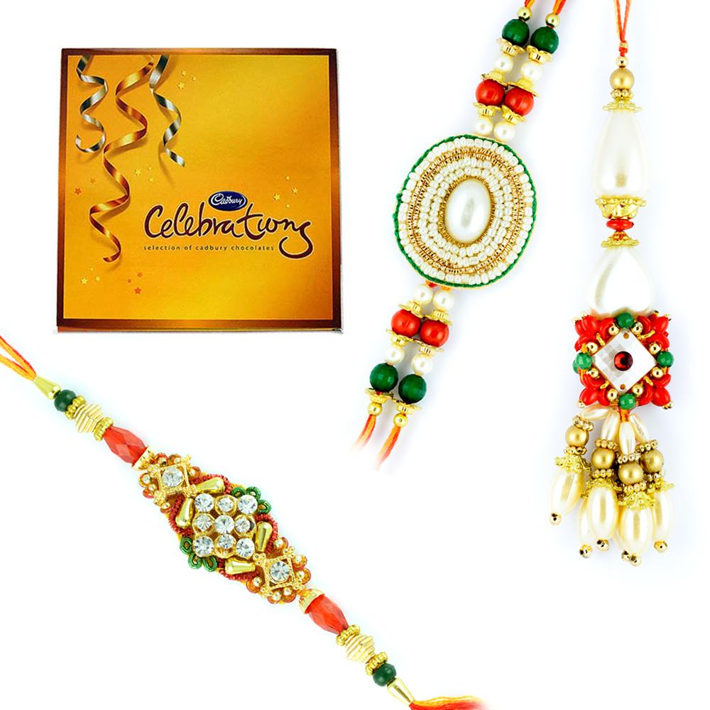 Hear Pearl Bhaiya Bhabhi Rakhi n 1 Zardosi Beads Rakhi with Cadbury Celebration Big