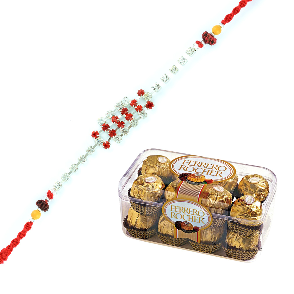 Simply Superb Diamond Silver Rakhi with Ferrero Rocher 16 Pcs