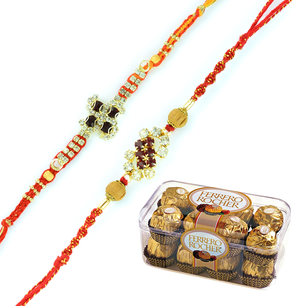 Eye-catching 2 Golden Diamond Sandalwood Rakhis with Ferrero Rocher 16 Pcs