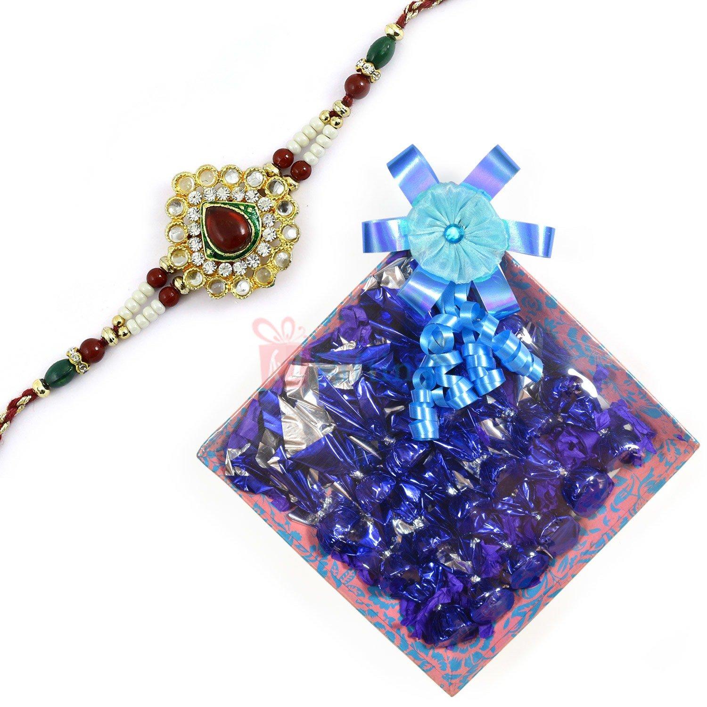 Kundan Diamond Rakhi with Chocolate Gift