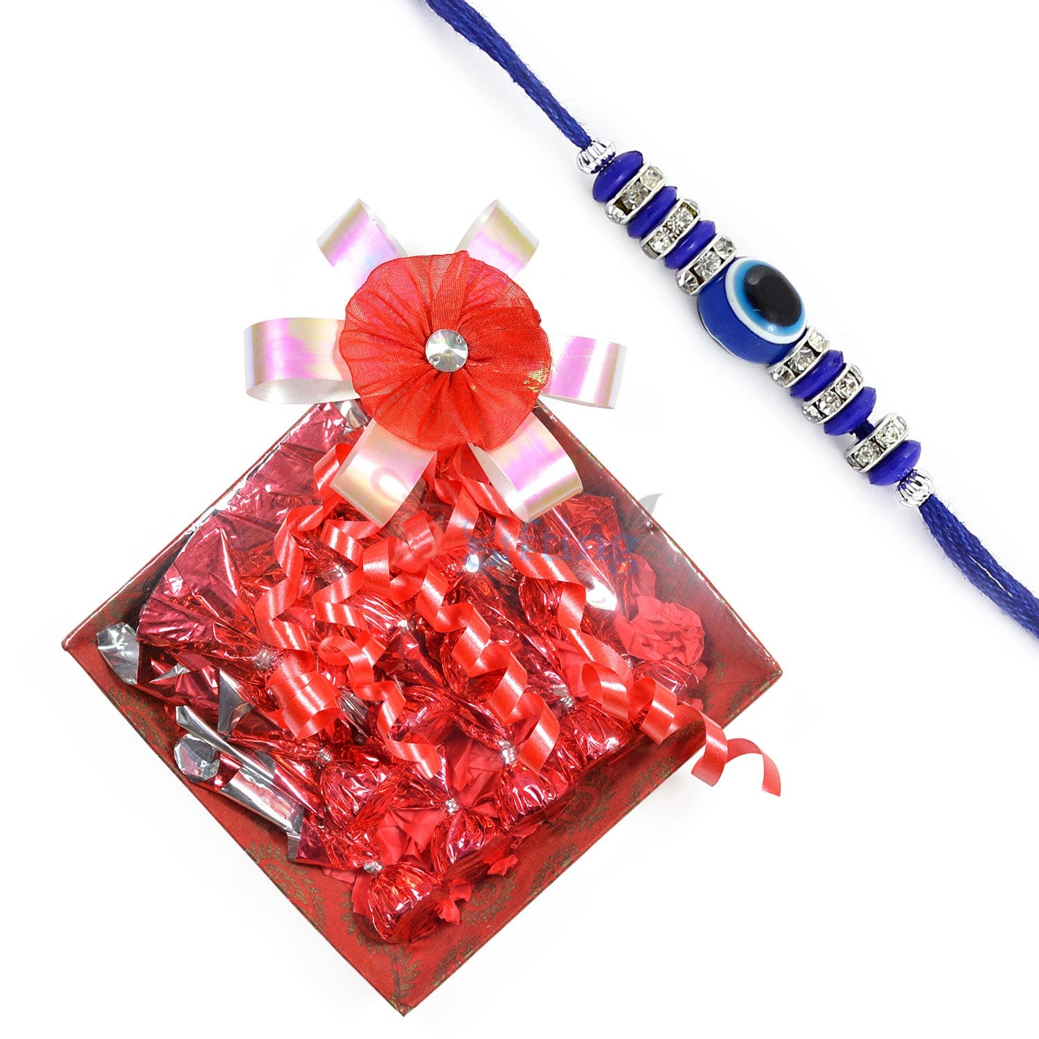 Blue Theme Diamond Ring Rakhi with Chocolate