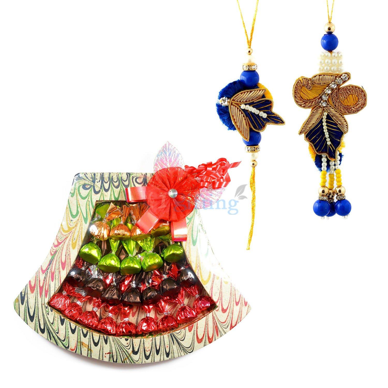 Zari Bhaiya Bhabhi Rakhi with Chocolate Bouquet