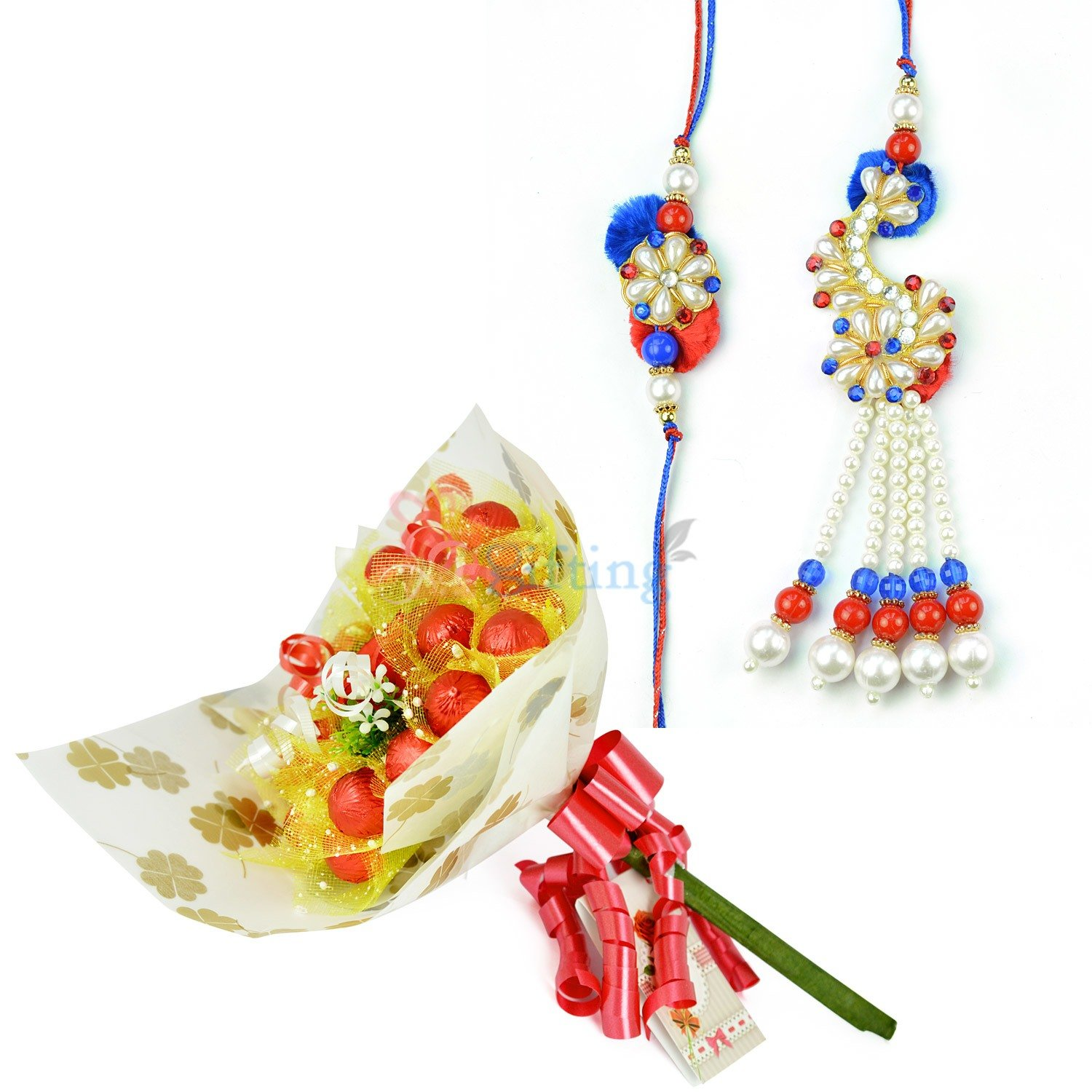 Amazing Pearl Pair Rakhi with Chocolate Bouquet